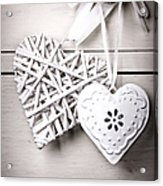 Vintage Hearts Acrylic Print by Jane Rix