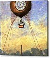 Vintage Hot Air Balloon Over Eiffel Tower Acrylic Print