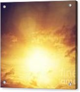 Vintage Image Of Sunset Sky With Dark Dramatic Clouds Acrylic Print