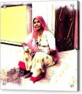 Vintage Just Sitting 2 - Woman Portrait - Indian Village Rajasthani Acrylic Print