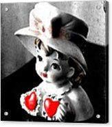 Vintage Lady Head Vase - Black And White With Red Acrylic Print