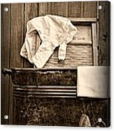 Vintage Laundry Room In Sepia Acrylic Print
