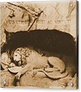 Vintage Lion Of Lucerne Acrylic Print