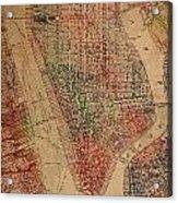 Vintage Manhattan Street Map Watercolor On Worn Canvas Acrylic Print