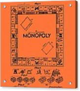 Vintage Monopoly Game Patent Acrylic Print