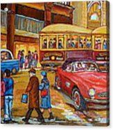 Vintage Montreal-st.catherine And Union-couples And Streetcars Acrylic Print