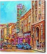 Vintage Montreal Street Saint Catherine Street Downtown Summer City Scene Carole Spandau Acrylic Print