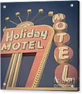 Vintage Motel Sign Holiday Motel Square Acrylic Print