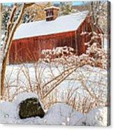 Vintage New England Barn Portrait Square Acrylic Print