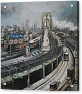 Vintage New York City Brooklyn Bridge Acrylic Print