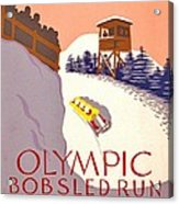 Vintage Poster - Olympics - Lake Placid Bobsled Acrylic Print