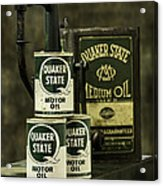 Vintage Quaker State Motor Oil Acrylic Print by Betty Denise