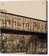 Vintage Railway Bridge In Sepia Acrylic Print