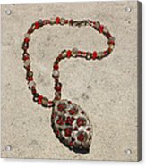 Vintage Ruby Rhinestone Flower Brooch Pendant Necklace 3633 Acrylic Print