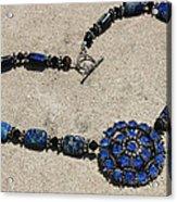Vintage Sapphire Rhinestone Brooch Pendant Necklace 3635n Acrylic Print