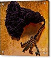 Vintage Skeleton Keys Tassled Gold Acrylic Print