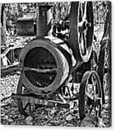 Vintage Steam Tractor Black And White Acrylic Print