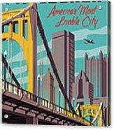Pittsburgh Poster - Vintage Travel Bridges Acrylic Print