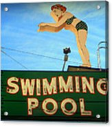 Vintage Swimming Lady Hotel Sign Acrylic Print