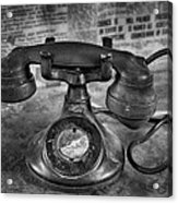 Vintage Telephone In Black And White  Acrylic Print