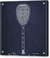 Vintage Tennnis Racket Patent Drawing From 1887-navy Blue Acrylic Print