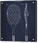 Vintage Tennnis Racket Patent Drawing From 1921 - Navy Blue Acrylic Print