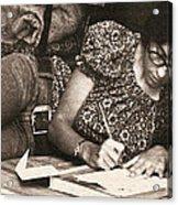 Vintage Young Woman Writing  Acrylic Print