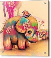 Vintage Tie Dye Elephants Acrylic Print