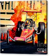 Vintage Top Fuel Dragster Fire Burnout-wild Bill Carter Acrylic Print