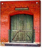 Vintage Train Depot Receiving Door - Augusta Acrylic Print by Mark E Tisdale