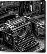 Vintage Typewriter Acrylic Print by Adrian Evans