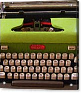 Vintage Typewriter - Painterly - Square Acrylic Print by Wingsdomain Art and Photography