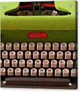 Vintage Typewriter - Painterly Acrylic Print by Wingsdomain Art and Photography
