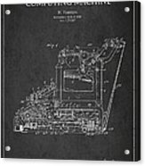 Vintage Typewriter Patent From 1918 Acrylic Print by Aged Pixel