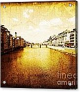 Vintage View Of River Arno Acrylic Print