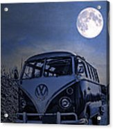 Vintage Vw Bus Parked At The Beach Under The Moonlight Acrylic Print