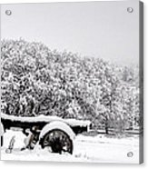 Vintage Wagon In Snow And Fog Filled Valley Acrylic Print