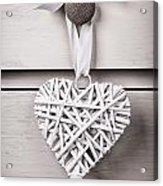Vintage Wicker Heart Acrylic Print by Jane Rix