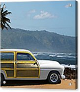 Vintage Woody On Hawaiian Beach Acrylic Print