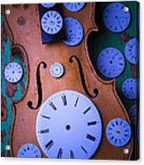 Violin With Watch Faces Acrylic Print by Garry Gay