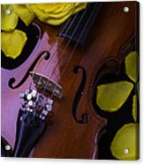 Violin With Yellow Rose Acrylic Print