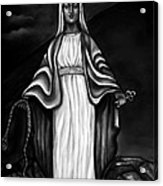 Virgen Mary In Black And White Acrylic Print