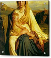 Virgin And Child Acrylic Print by Paul  Delaroche