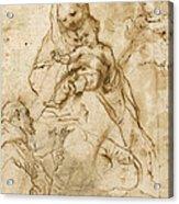 Virgin And Child With Saint Francis Acrylic Print