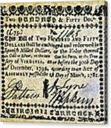 Virginia Banknote, 1781 Acrylic Print