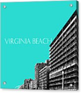Virginia Beach Skyline Boardwalk  - Aqua Acrylic Print