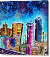 Viva Las Vegas A Fun And Funky Pop Art Painting Of The Vegas Skyline And Sign By Megan Duncanson Acrylic Print