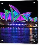 Vivid Sydney By Kaye Menner - Opera House... Patterns 2 Acrylic Print