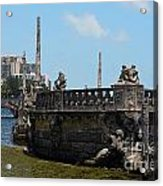 Vizcaya Breakwater Ship Footbridge And Skyline Biscayne Bay Miami Florida Poster Edges Digital Art Acrylic Print