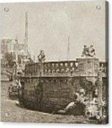 Vizcaya Breakwater Ship Footbridge And Skyline Biscayne Bay Miami Florida Vintage Digital Art Acrylic Print